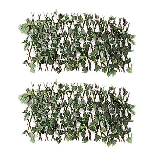 135 * 35 cm Retractable Trellis recinzione con viti artificiali siepi di legno Espandibile Privacy Schermo recinzione per privacy, recinti decorativi per esterni da interno per la casa front yard idee