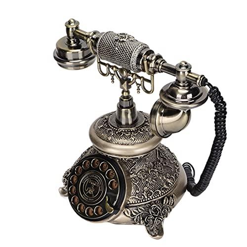 Teléfono Antiguo, Teléfonos Antiguos De época, Teléfono Giratorio Retro con Brillo Metálico, Teléfono Retro con Cable Sin Ruido para El Hogar, Oficina, Cafetería, Decoración De Bar