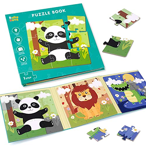 Magnetic Puzzles for Kids Ages 2 3 4, Advanced Version 9-12-16 Piece Animal Wooden Jigsaw Puzzles Book for Toddlers, Travel Games, Preschool Educational Learning Toys for 2 3 4 Year old Boys and Girls