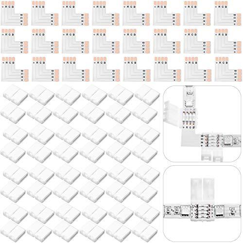 72 Piezas Juego de Conectores de Tiras LED RGB 4 Pines, 24 Piezas PCB en Forma de L y 48 Piezas Extensiones de Adaptador sin Soldadura sin Huecos 10 mm para SMD 5050 Tiras LED RGB