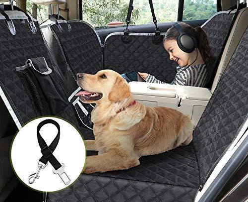 pecute Hundedecke für Auto Rückbank mit Armlehnen, Reißfeste wasserdichte Autoschondecke mit Sicherheitsgurt für Rückbank Trunk, für die Meisten Autos und SUVs (Schwarz)