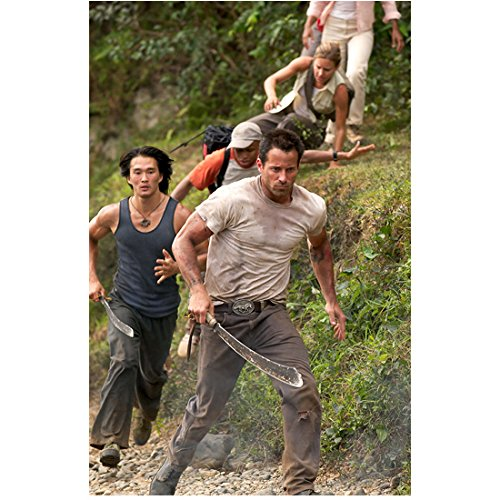 Anacondas: The Hunt for the Blood Orchid cast running through jungle 8 x 10 Inch Photo