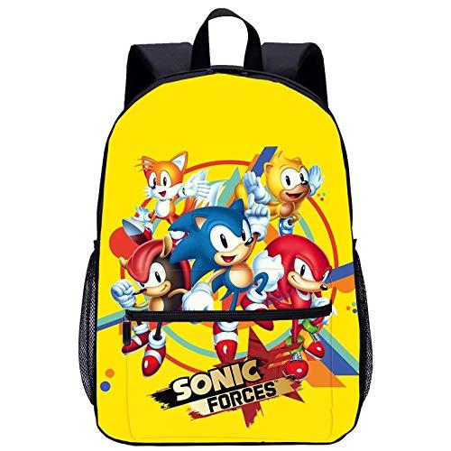 Mochila escolar Sonic El erizo de dibujos animados Anime para estudiantes, duradera, resistente al agua, ajustable, mochila escolar (Sonic 8,28 x 14 x 40 cm)