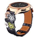 Ribivaul Handmade Flower Leather Watch Band Compatible with Galaxy Watch 40mm Band Fashion Design Watch band for Samsung Galaxy Watch 42mm Replacement Bands Strap with Stainless Steel Buckle Women Men