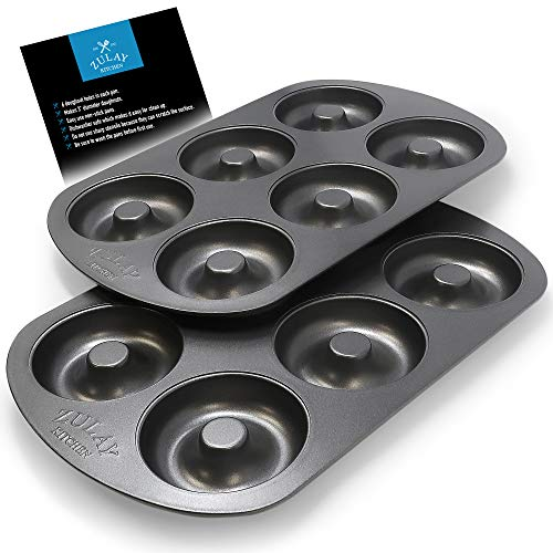 Non-Stick Donut Pan for Baking Delicious Healthy Donuts and Bagels - High-Grade Carbon Steel Doughnut Pan - 6-Cavity Donut Hole Pan Set with Non-Stick Surface by Zulay Kitchen (Pack of 2)