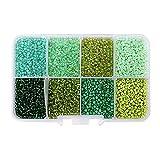 6300 cuentas de cristal para semillas, pequeas cuentas de pony, kit surtido para joyera, manualidades y decoracin, 2 mm, redondo con agujero de 1 mm (verde)