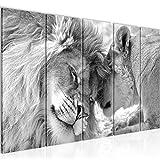 decoración de la pared Tabla África leones - 150 x 60 cm Vista de impresión en lienzo Salón Apartamento - listo para colgar - 002156c