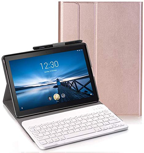 Keyboard Case for Lenovo Tab P10 - (QWERTY Layout) Ultra Slim Flip with Removable Wireless Keyboard Stand Case Cover for Lenovo Tab P10 TB-X705F 10.1 Inch, Rose gold