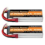 Lipo 4S Battery,14.8v 3300mAh Lipo Battery Pack 50C with T Plug for RC Helicopter Airplane Boat Quadcopter (2 Packs)