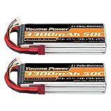Youme Power Batería Lipo 4S, 14.8v 3300mAh Paquete de baterías Lipo 50C con Conector T para helicóptero RC Quadcopter de avión (2 Paquetes)