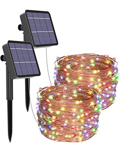 [2 Pack] Litogo Solar Fairy Lights Outdoor, 12m 120 LED Solar Garden Lights 8 Modes Waterproof Copper Wire Decorative Solar String Lights for Garden, Patio, Gate, Yard, Wedding, Party (Multi-Color)