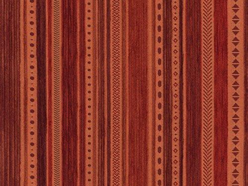 RaumTraum Landhaus Möbelstoff Kitzbühel Farbe 21 (rot, braun, Terra) - modernes Chenille-Flachgewebe (Gemustert, gestreift) Polsterstoff, Stoff, Bezugsstoff, Eckbank, Couch, Sessel, Hussen, Kissen