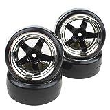 Shaluoman Plating 5-Spoke Wheel Rims with Hard Plastic Tires for RC 1:10 Drift Car Color Black