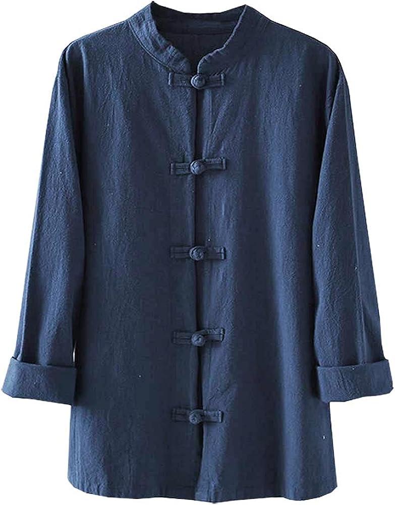 Kedera Women's Linen Shirts Retro Mandarin Collar Chinese Frog Button Tops Blouse