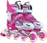 FCHMY Patines en Línea para Niños con Ruedas Iluminadas Inline Skates Tamaño Ajustables Rollerblade de Malla Transpirable para Infantiles y Adolescentes,Rosado,M(33~37)