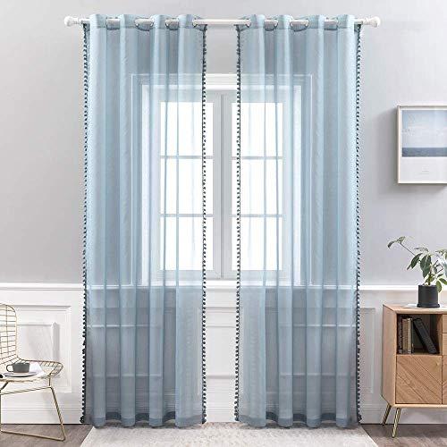 MIULEE 2er Set Vorhang Sheer mit Ösen mit Pompons Gardine aus Voile Polyester Ösenvorhang Transparent Wohnzimmer Luftig Dekoschal für Schlafzimmer 140 x 145cm (B x H) Dunkelblau