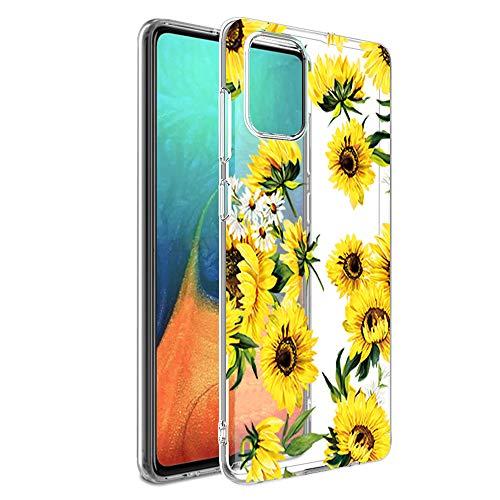 Kompatible für Handyhülle Samsung Galaxy A71 Hülle - Silikon Blumen Muster Case Cover Durchsichtig Tasche Dünn Schutzhülle Handytasche Skin Softcase Schale Bumper TPU Handycover-7