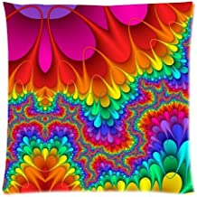 Rainbow Meditation Tie Dye Cushion Case - Throw Pillow Case Decor Cushion Covers Square with Invisible Zipper Closure - 18...