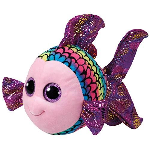 TY 37150 Fish Beanie Boo's Flippy Fisch mit Glitzeraugen, 24 cm, Mehrfarbig