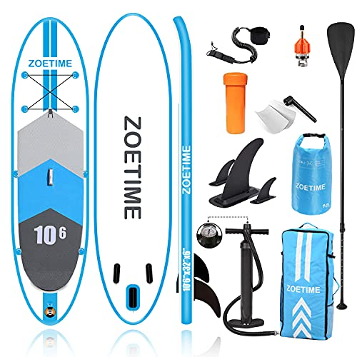 Zoetime Inflatable Stand Up Paddle Board, 10'6'×32'×6' Lightweight Versatile SUP for Touring Racing Fishing Surfing Yoga, Include Backpack, Bonus, Leash, Fin, Paddle, Waterproof Bag and Hand Pump