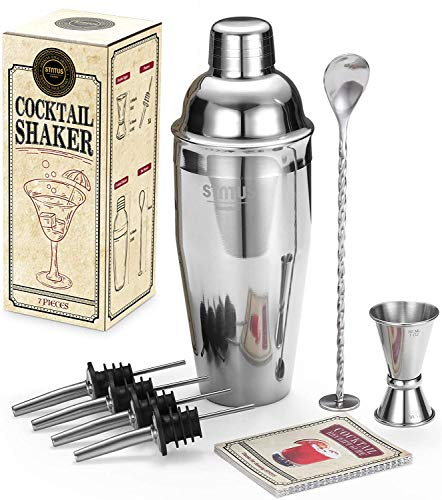STNTUS INNOVATIONS Shaker Cocktail, Set Cocktail Professionale, Kit Cocktail Acciaio Inox, Set Regalo Cocktail per Uomo/Lui, Kit Barman Jigger, Dosatore Cocktail, Spoon, Ricette (Shaker 7 Pezzi)