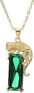 AILUOR Mujeres Hombres Hip Hop 14 K Chapado En Oro Cristal Verde Colgante de Leopardo Collar Punk Creado Emerald Panther C...