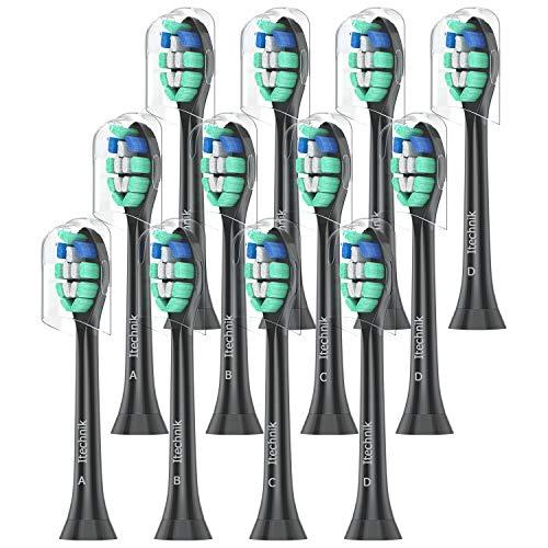 Aufsteckbürsten Kompatibel mit Philips Sonicare Elektrische Zahnbürste, ProResults HX9024/23, Ersatzbürsten Weiß,12er pack,Bürstenköpfe von ITECHNIK