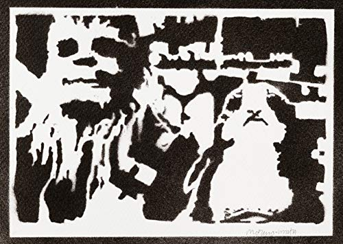 Poster Chewbacca y Porg STAR WARS Grafiti Hecho a Mano - Handmade Street Art - Artwork