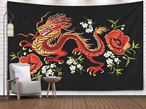 Decoración del hogar Tapiz Bordado Patrón de flores de colores Dragón japonés chino