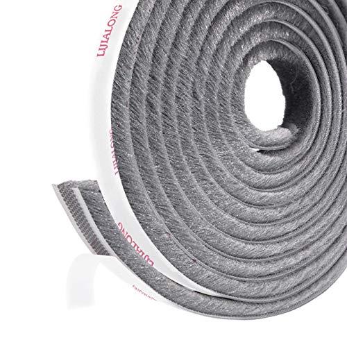 fowong Adhesive Pile Weather Stripping, 11/32 inch x 11/32 inch x 16 Feet, High Density Fuzzy Door Brush Strip for Sliding Sash Door Window Wardrobe Seal (Grey)