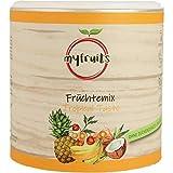 myfruits® Früchte Mix aus gefriergetrockneten Ananaswürfeln, Bananenscheiben, ganzen Physalis und getrockneten Kokosnuss-Streifen, 100% natürlicher Geschmack, ohne Zucker (100g)