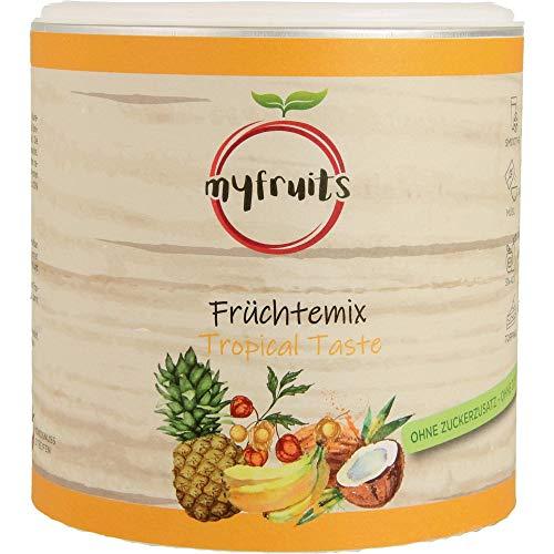 myfruits® Früchte Mix aus gefriergetrockneten Ananaswürfeln, Bananenscheiben, ganzen Physalis und getrockneten Kokosnuss-Streifen, 100 g, 100% natürlicher Geschmack, ohne Zucker