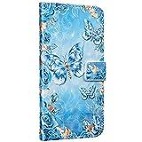 Saceebe Compatible avec Samsung Galaxy A3 2017 Housse Cuir Coque Brillante Bling Glitter 3D Marbre Motif Portefeuille Pochette Étui Flip Case Magnétique Clapet Stand Support,Papillon