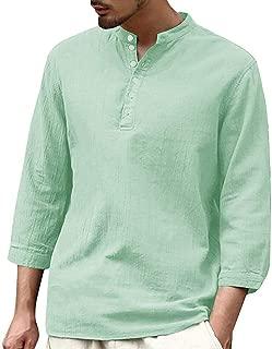 Mens Long Sleeve Henley Shirt Cotton Linen Beach Yoga Loose Fit Henleys Tops