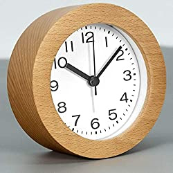 3-Inches Round Wooden Alarm Clock with Arabic Numerals, Non-Ticking Silent, Backlight, Battery Operated, Nature