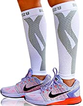 BLITZU Calf Compression Sleeves For Women & Men Leg Compression Socks for Runners, Shin Splint, Recovery from Injury & Pain Relief Great for Running, Maternity, Travel, Nurses White S-M