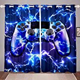 GOOESING Gamepad Galaxy Starry Sky Gamepad Curtains Lightning Video Game Gamepad Game Controller Blue Blackout Window Curtains Home Decor for Living Room Bedroom (Set of 2 Panels - 42Wx63L)