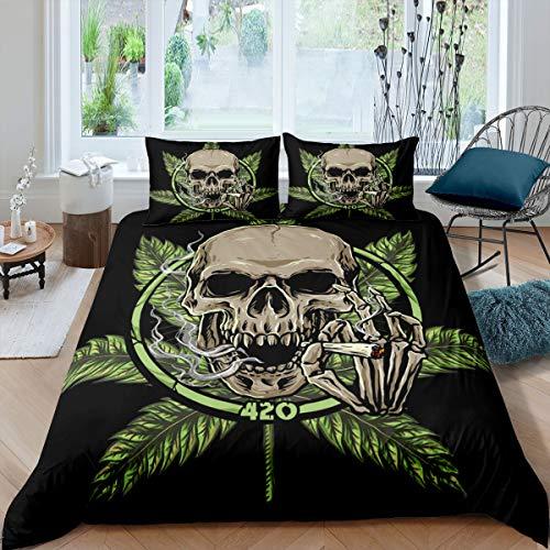 Homewish Funda nórdica con diseño de calavera, 135 x 200 cm, diseño de hojas de cannabis Leaves Weed para niños, adolescentes y adultos, con 1 funda de almohada, color negro y verde