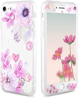 iPhone6PLUS iPhone6s Plus ケース 花柄 桜 花びら 保護フィルム付き アイフォン6Plus アイフォン6s Plus カバー 和柄 春 桜吹雪 かわいい 耐衝撃 半透明 スマホケース (iPhone6 Plus/6S Plus 5.5, ハイビスカスの花柄)