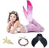 NoNo Prinzessin Mermaid Kinderbadeanzug Vollen Satz, Split Bikini Schwanz Mit Flossen, Geeignet Für Strand/Pool/Party,Lila,M
