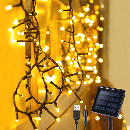 Solar String Lights Outdoor, 72 Ft 200 LED Solar Fairy String Lights, USB Rechargeable 8 Modes Decorative Twinkle String Lights for Home, Garden, Patio, Yard, Wedding, Party, Christmas (Warm White)