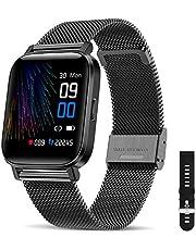 CanMixs Smartwatch, fitnessarmband, horloge, 1,54 inch, volledig touchscreen, fitnesshorloge, IP68 waterdicht, fitnesstracker, sporthorloge met stappenteller, hartslagmeter, stopwatch, muziekbesturing, voor iOS en Android, dames en heren