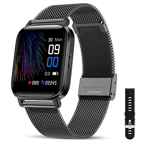 CanMixs Smartwatch Fitness Armband Uhr 1.54-Zoll Voller Touch Screen Fitnessuhr IP68 Wasserdicht Fitness Tracker Sportuhr mit Schrittzähler Pulsuhren Stoppuhr Musiksteuerung für iOS Android Damen Herren