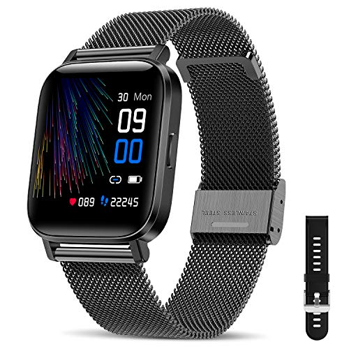 "CanMixs Smartwatch Fitness Armband Uhr 1.54"" Voller Touch Screen Fitnessuhr IP68 Wasserdicht Fitness Tracker Sportuhr mit Schrittzähler Pulsuhren Stoppuhr Musiksteuerung für iOS Android Damen Herren"