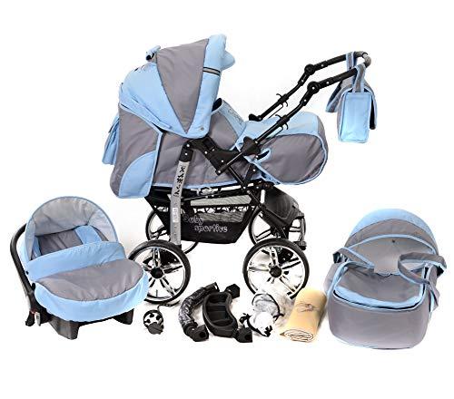 Kamil - Landau pour bébé + Siège Auto - Poussette - Système 3en1, incluant sac à langer et protection pluie et moustique - ROUES NON PIVOTABLES (Système 3en1, gris, bleu)