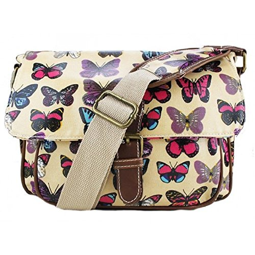 Miss Lulu - Small Oilcloth Satchel Bag - Butterfly Print Beige
