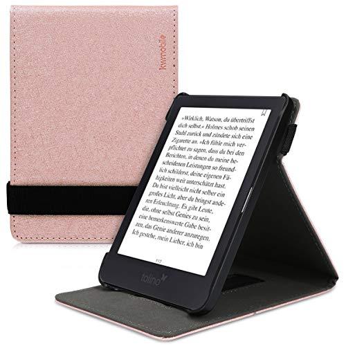 kwmobile Schutzhülle kompatibel mit Tolino Shine 3 - Hülle e-Reader mit Schlaufe Ständer - - Rosegold