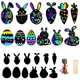 Arcobaleno Scratch Art Carta 36Pcs,Scratch Art Uova di Pasqua,Pasqua Scratch Art Bambini,Uova di Pasqua Scratch Art per Regalo di Pasqua Decorazioni Fai da Te della Festa di Compleanno Artigianato