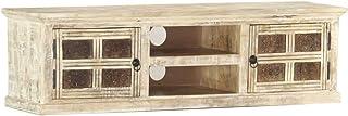 UnfadeMemory Mueble de TV VintageSoporte de TVElevador para Monitorcon 2 Puertas y 2 EstantesMadera Maciza de Mango13...