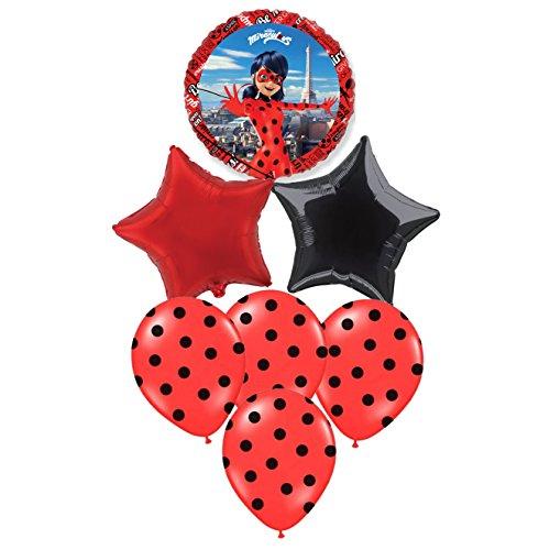 Pack 7 Globos Ladybug Especial para Fiestas DE CUMPLEAÑOS. Ideales para SU INFLADO con Helio